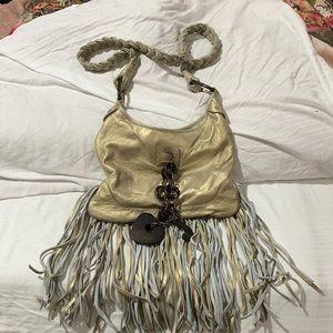 Juicy golden fringe wood charms cross body leather bag euc